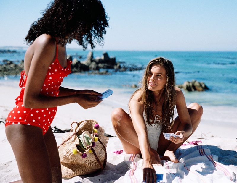 (Left) & Other Stories Polka Dot Swimsuit (Right) & Other Stories Halter Eyelet Swimsuit