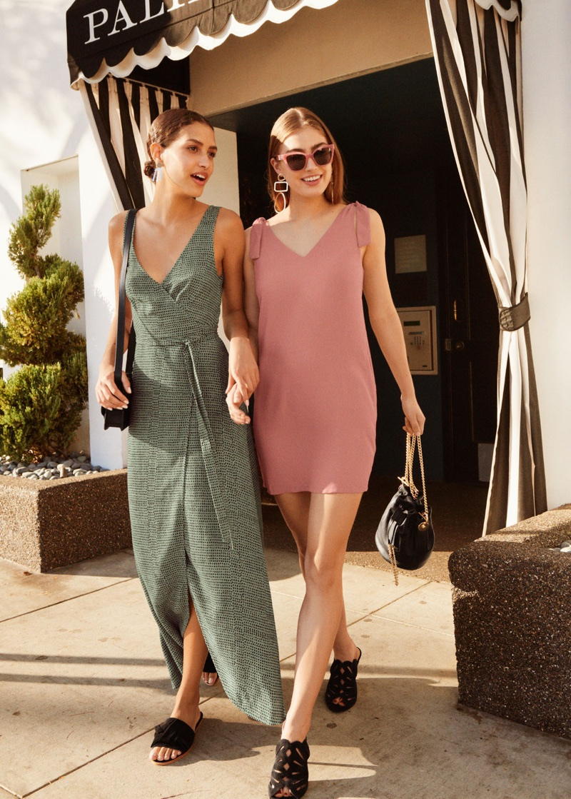(Left) & Other Stories Maxi Wrap Dress and Knotted Suede Slip Ons (Right) & Other Stories Shoulder Tie Mini Dress and Petal Cutout Stiletto Sandals