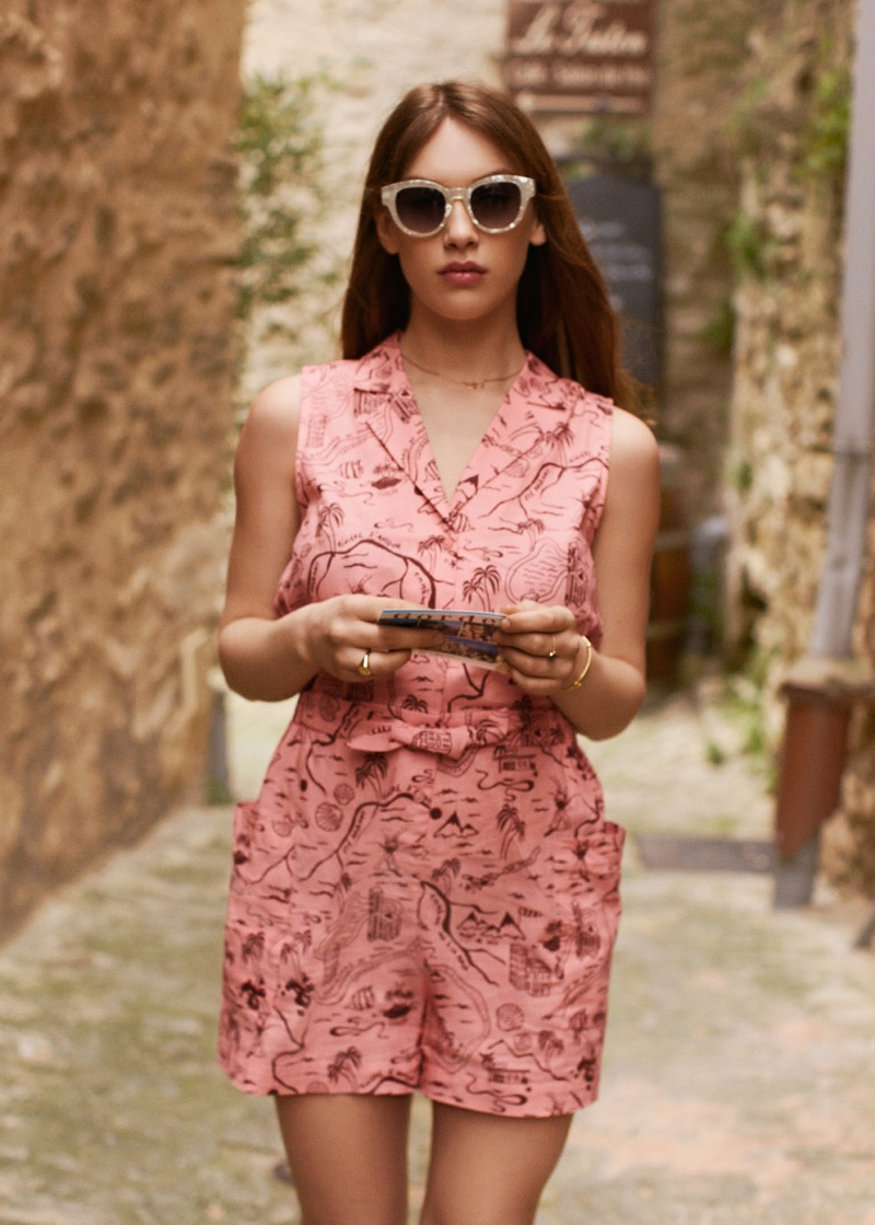 & Other Stories Tropical Map Print Romper and Pearl Speckled Sunglasses