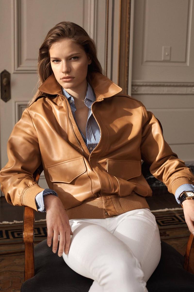 Faretta models flight jacket from Ralph Lauren's Iconic Style collection