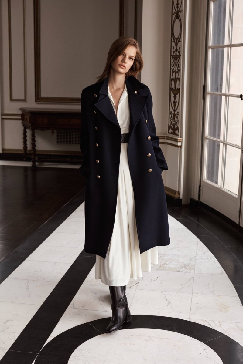 Faretta poses in officer's coat from Ralph Lauren Iconic Style collection