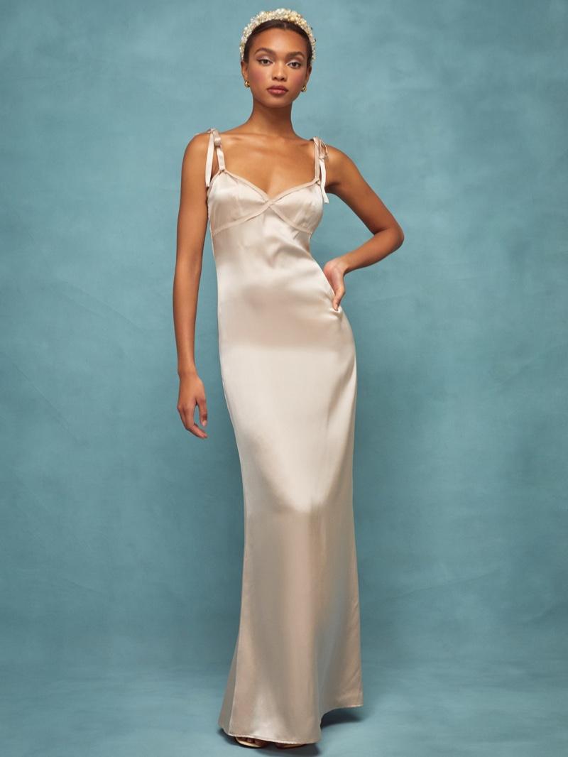 Reformation Gretchen Dress in Champagne $328