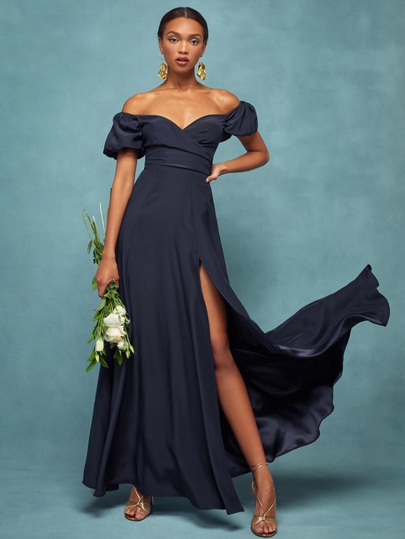 Reformation Grigio Dress in Navy $428