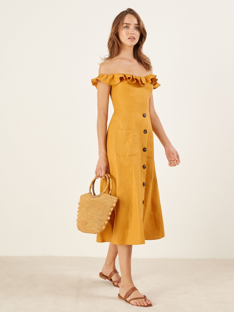 Reformation Hattie Dress in Ochre $218