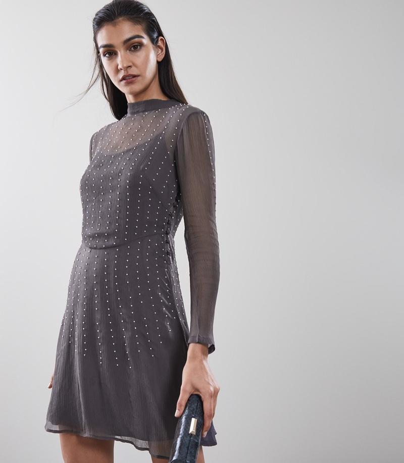REISS Camile Embellished Fit & Flare Dress $345