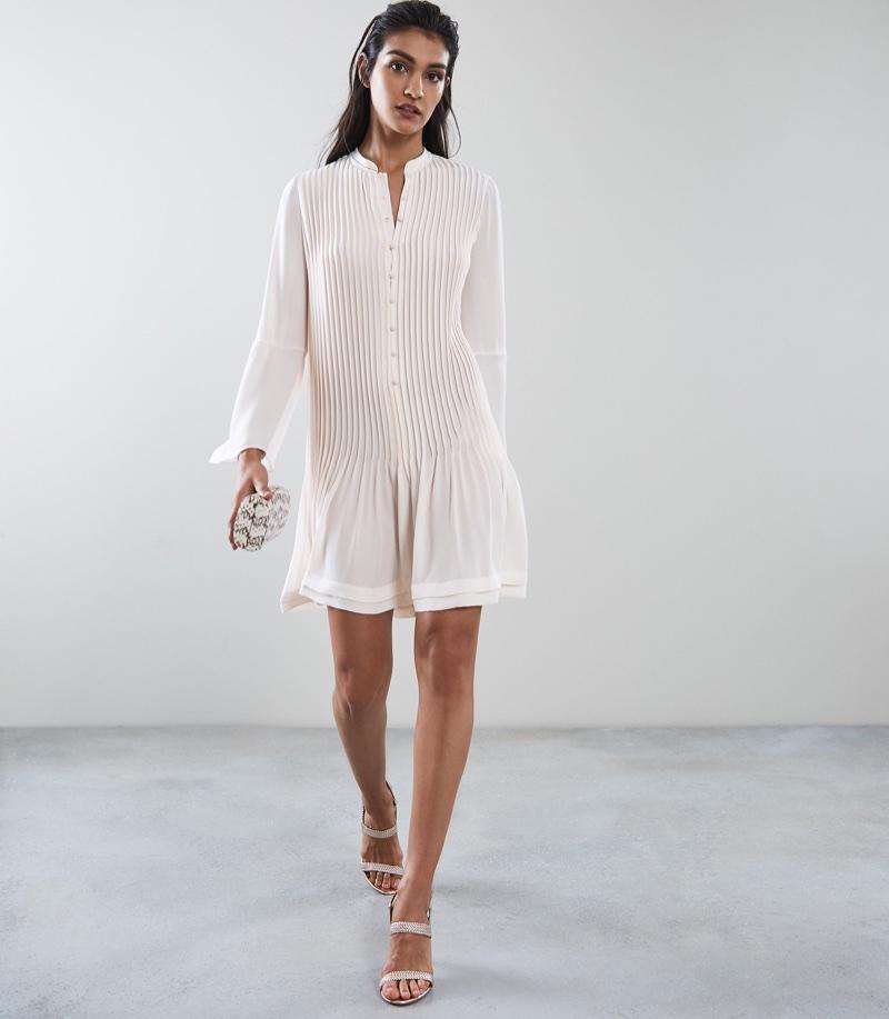 REISS Sylvan Pleated Shirt Dress $425