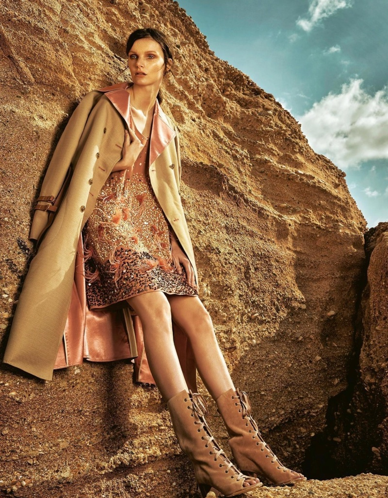 Romana Umrianova Embraces Earthy Fashion for Grazia Italy