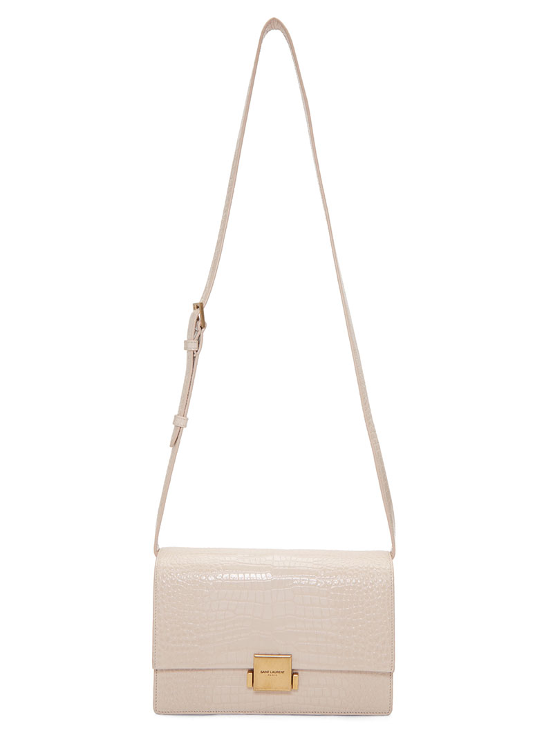 Saint Laurent Croc Medium Bellechasse School Bag $1424 (previously $1950)