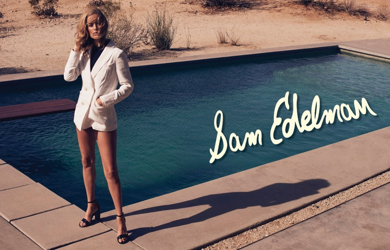 Posing by the pool, Carolyn Murphy fronts Sam Edelman's spring-summer 2018 campaign