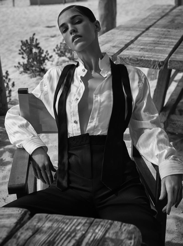 Samantha Gradoville Wears Black & White Looks for Grazia Italy