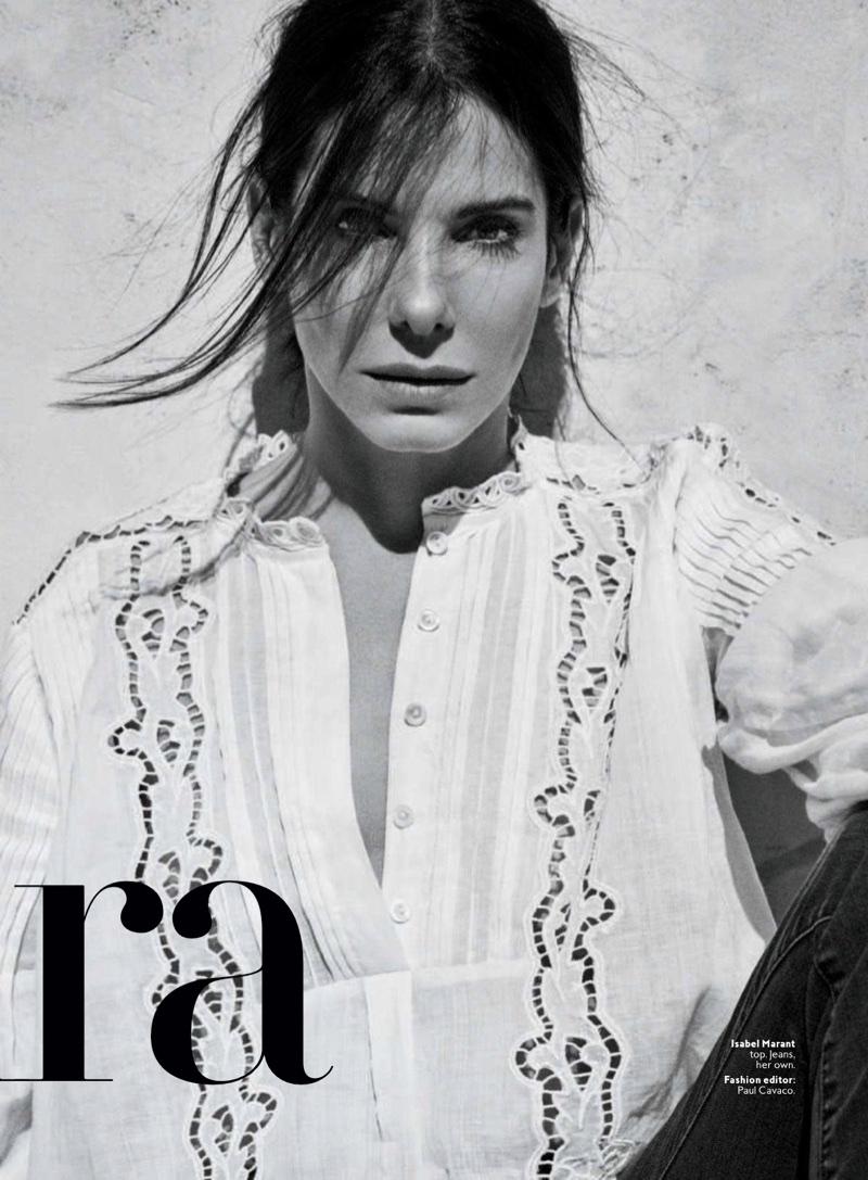 Actress Sandra Bullock wears Isabel Marant top