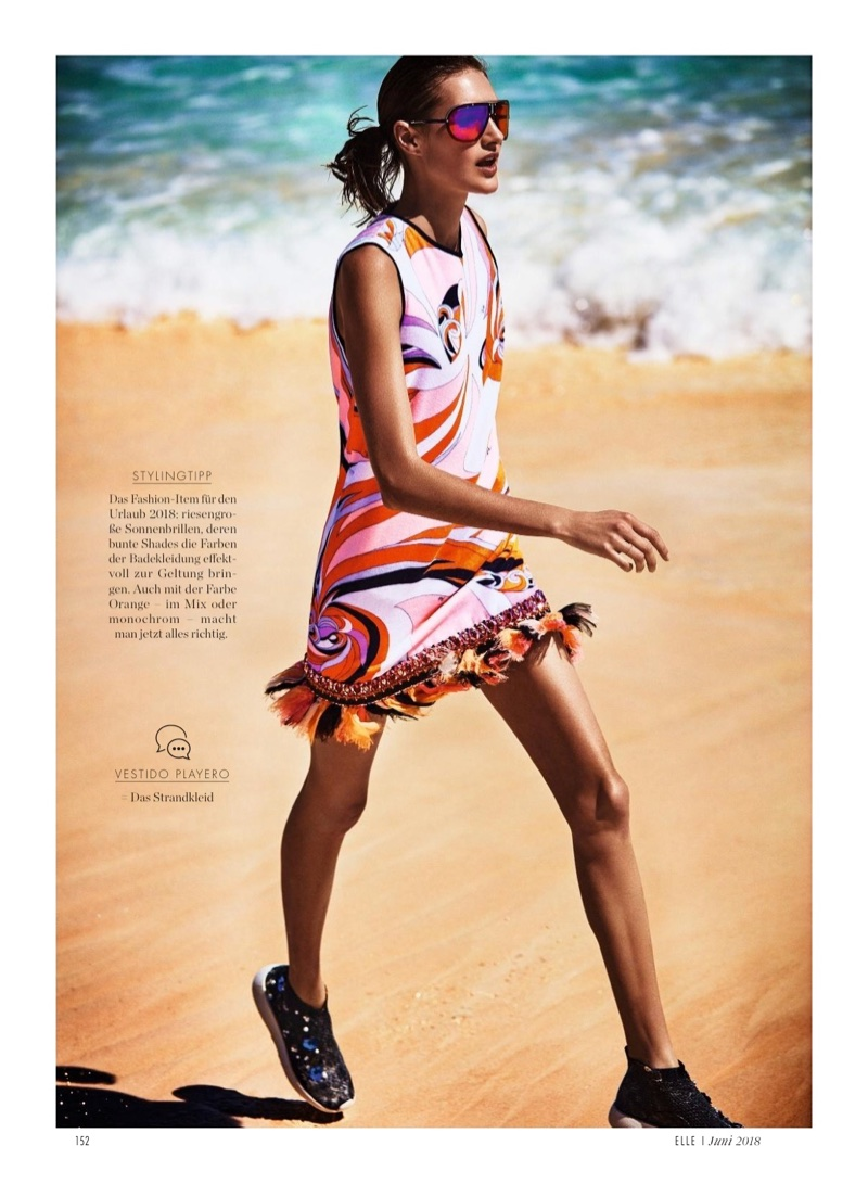 Sanne Vloet Gets Sporty Glam at the Beach for ELLE Germany