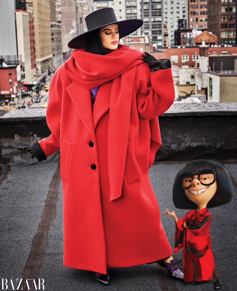 Sara Sampaio Poses with Incredibles 2's Edna Mode for Harper's Bazaar