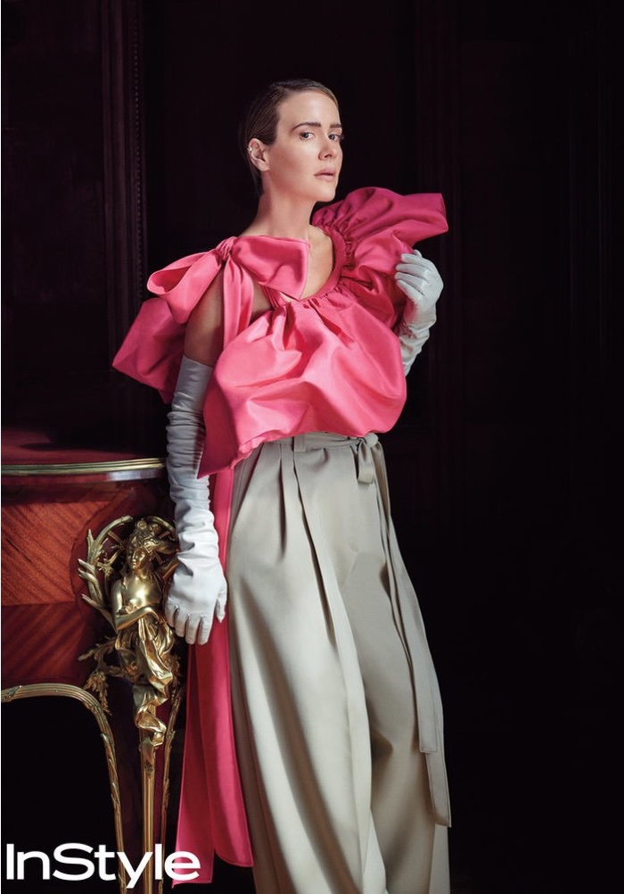 Dressing up, Sarah Paulson wears Valentino Haute Couture top, pants and gloves