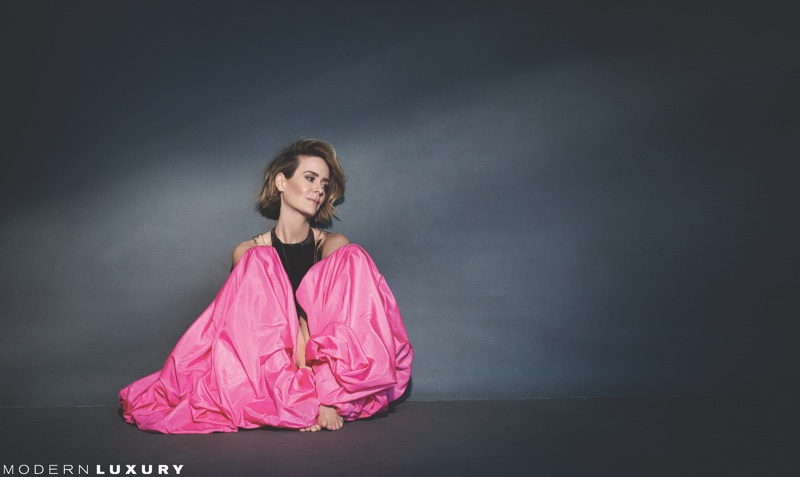 Actress Sarah Paulson wears pink gown from Valentino