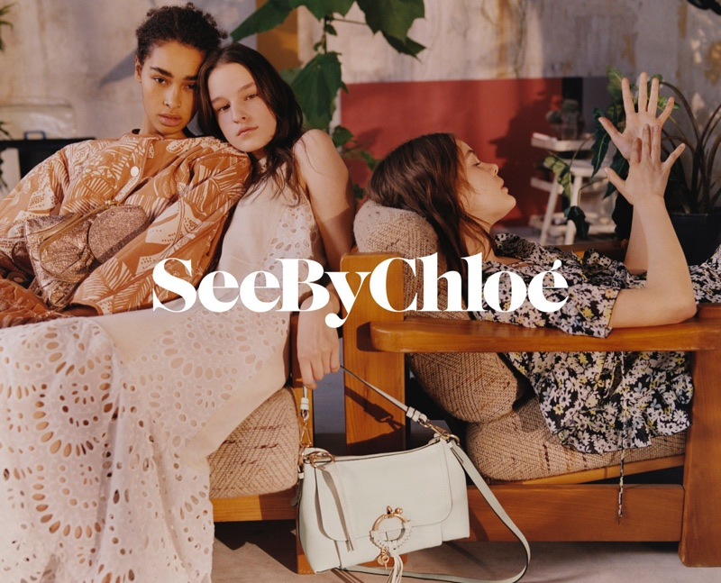 Maria Susan Landwehr, Laura Toth and Julia Nicole Meyer front See By Chloe's spring-summer 2018 campaign