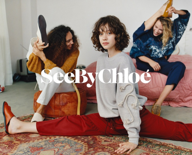 Models stretch in See By Chloe's spring-summer 2018 campaign