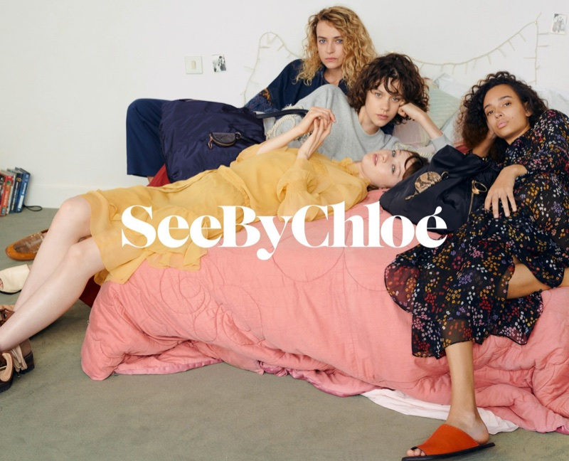 Models lounge in bed for See By Chloe's spring-summer 2018 campaign