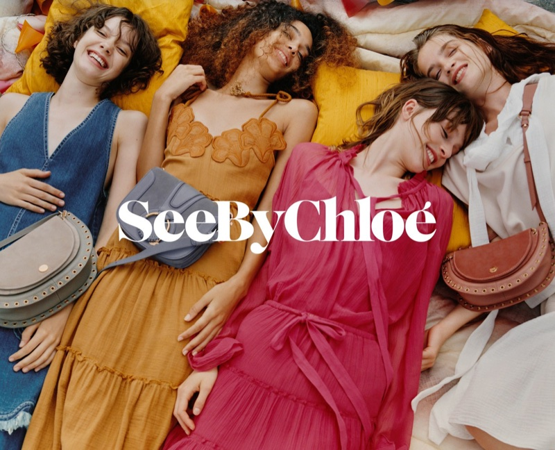 Models are all smiles in See By Chloe's spring-summer 2018 campaign
