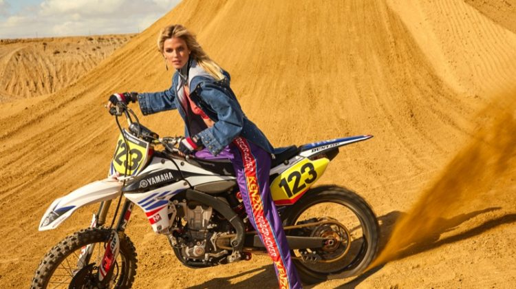 Shannan Click Poses in Chic Motocross Looks for Vanity Fair Italy