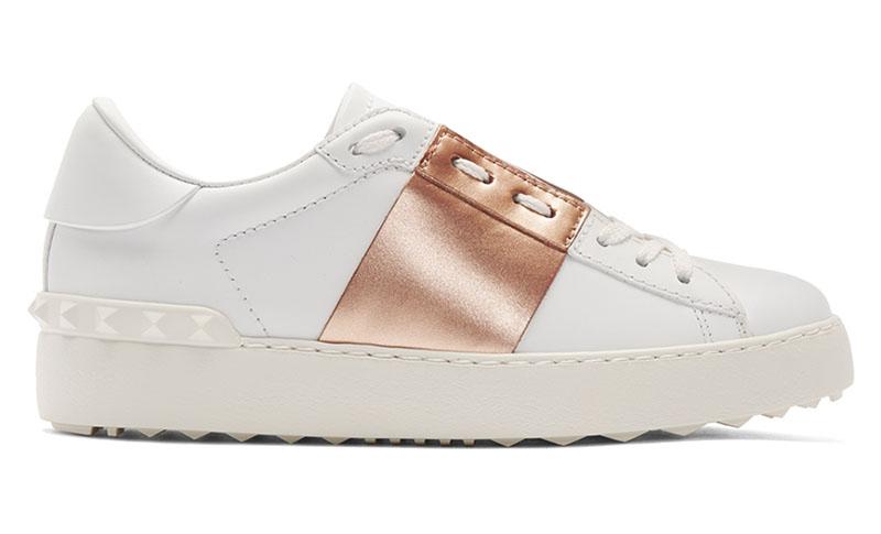 Valentino Open Sneaker in White & Gold $493 (previously $695)