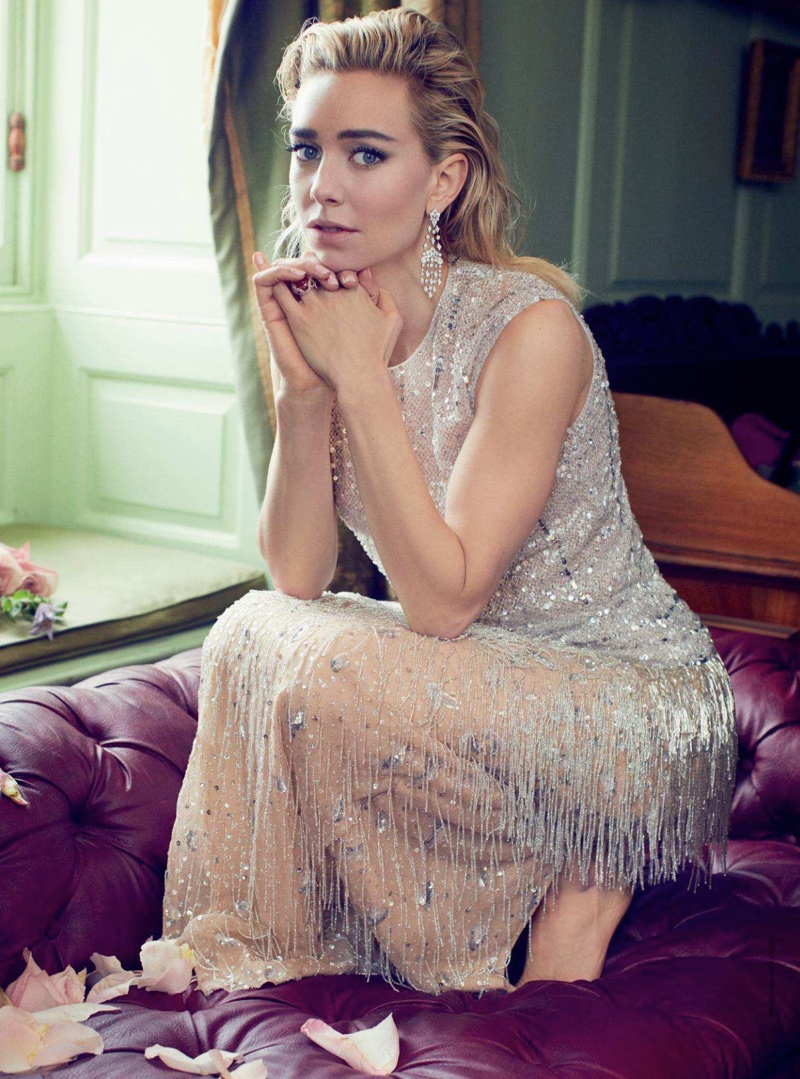 Turning up the shine factor, Vanessa Kirby wears Givenchy Haute Couture top and skirt
