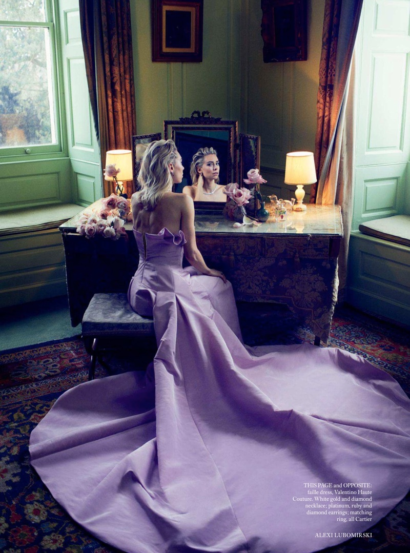 Actress Vanessa Kirby poses in Valentino Haute Couture gown with Cartier jewelry