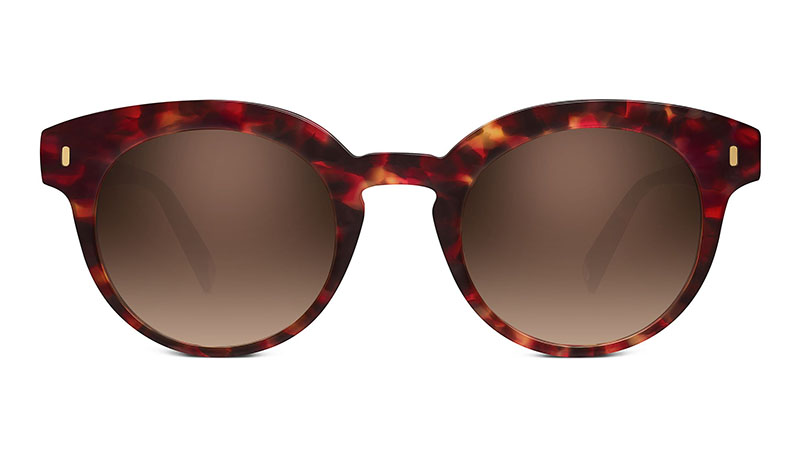 Warby Parker Elle Sunglasses in Scarlet Granite with Brown Gradient Lenses $95