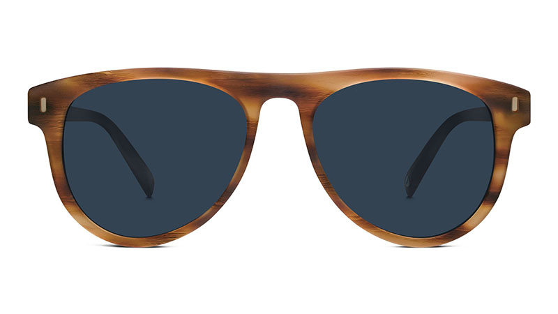 Warby Parker Hartley Sunglasses in English Oak Matte with Classic Blue Lenses $95
