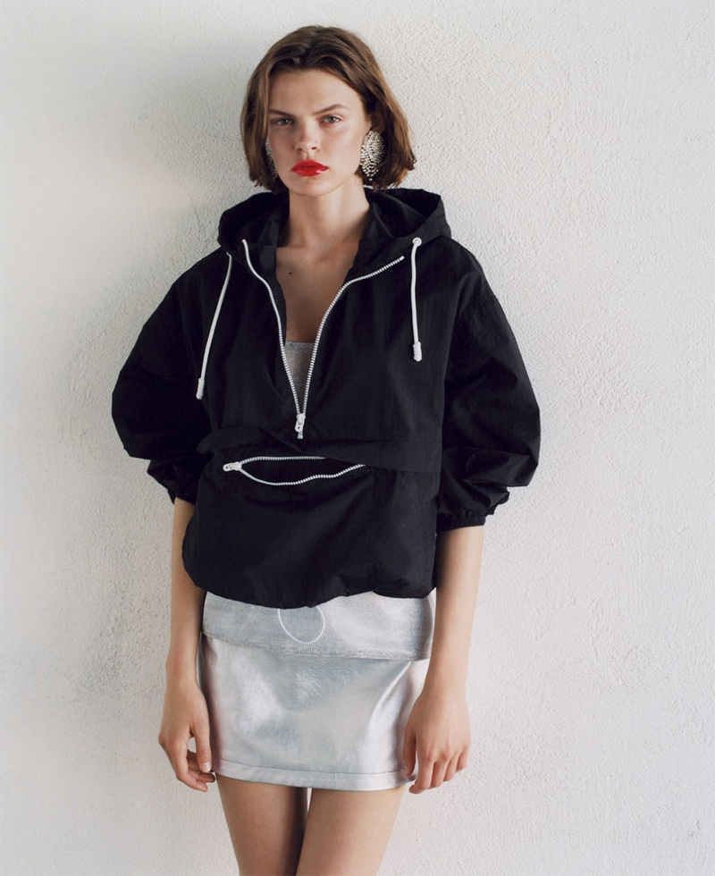 Cara Taylor models Zara Water Repellent Lightweight Jacket and Metallic-Effect Mini Skirt