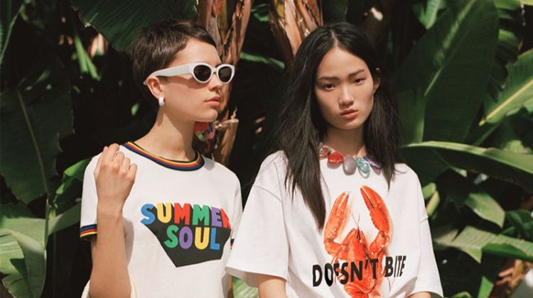 Hyunji Shin and Loane Normand front Zara California Rush spring-summer 2018 lookbook