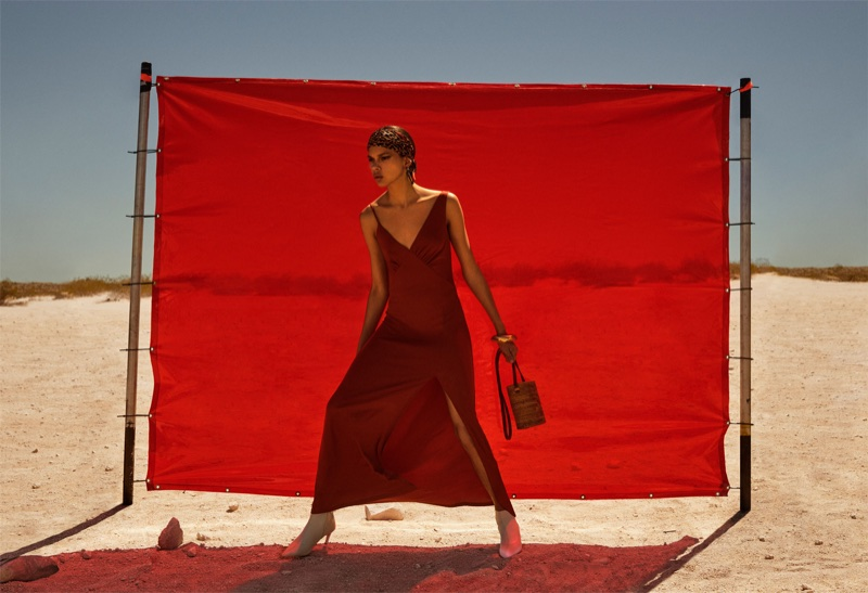 Hiandra Martinez models Zara Dress with Asymmetric Straps