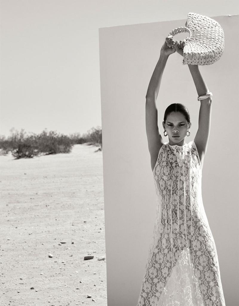Hiandra Martinez models Zara Lace Maxi Dress and Half-Moon Handbag