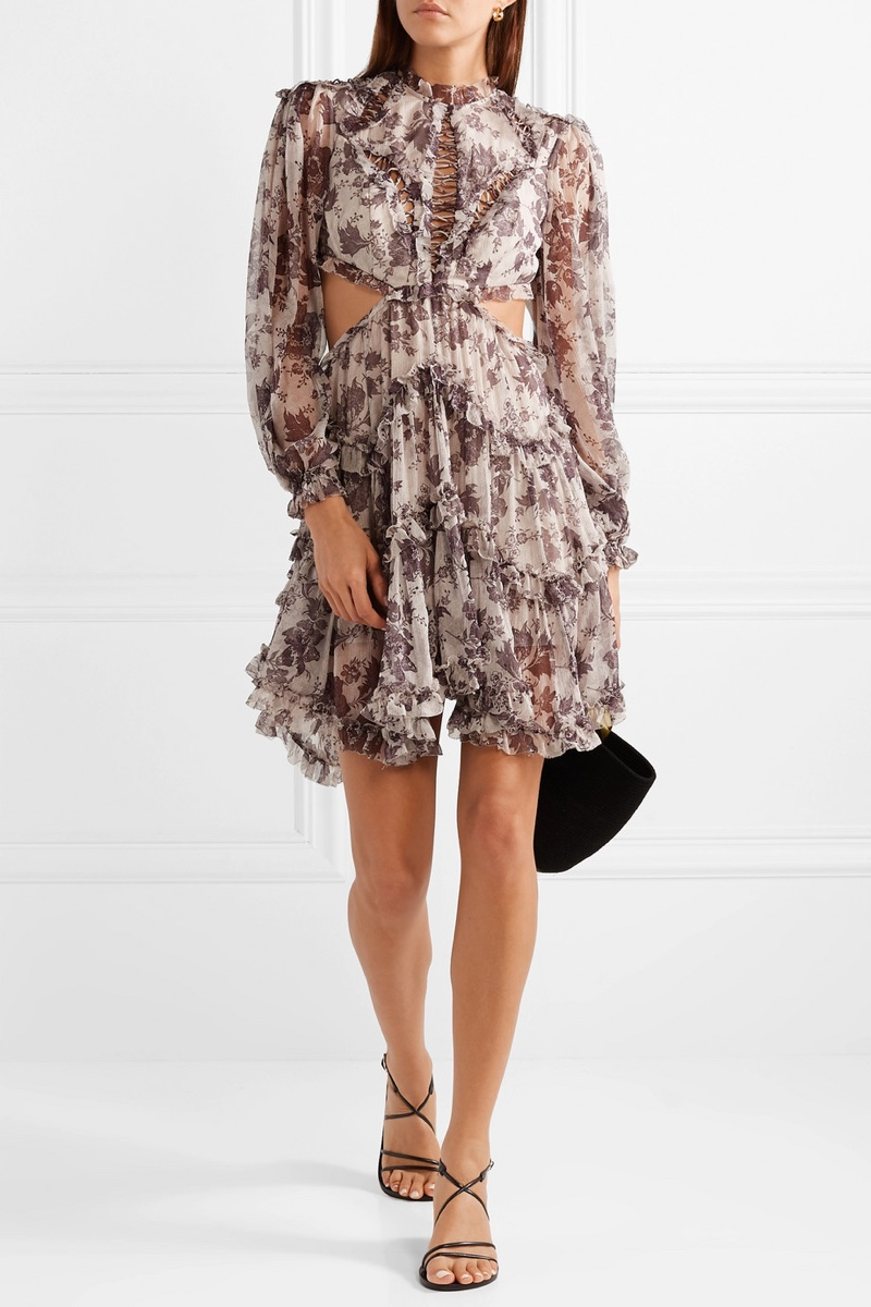 Zimmermann Juno Open-Back Ruffled Silk Crepon Mini Dress $597 (previously $995)