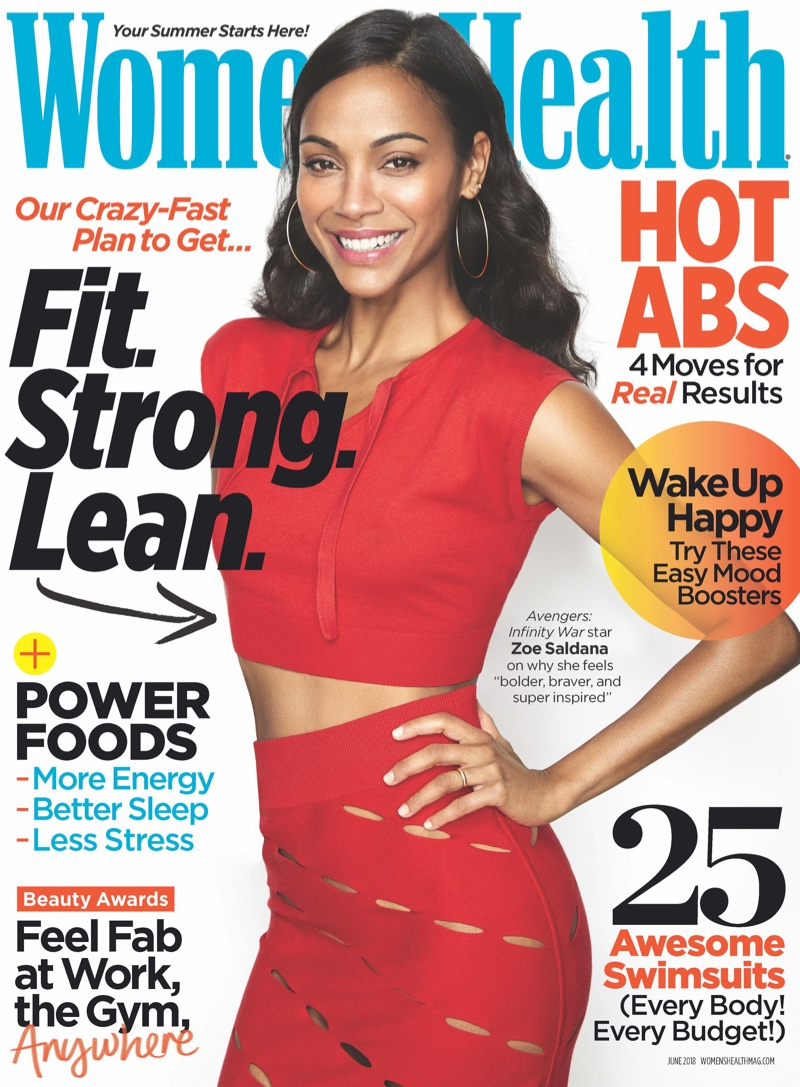 Zoe Saldana on Women's Health June 2018 Cover