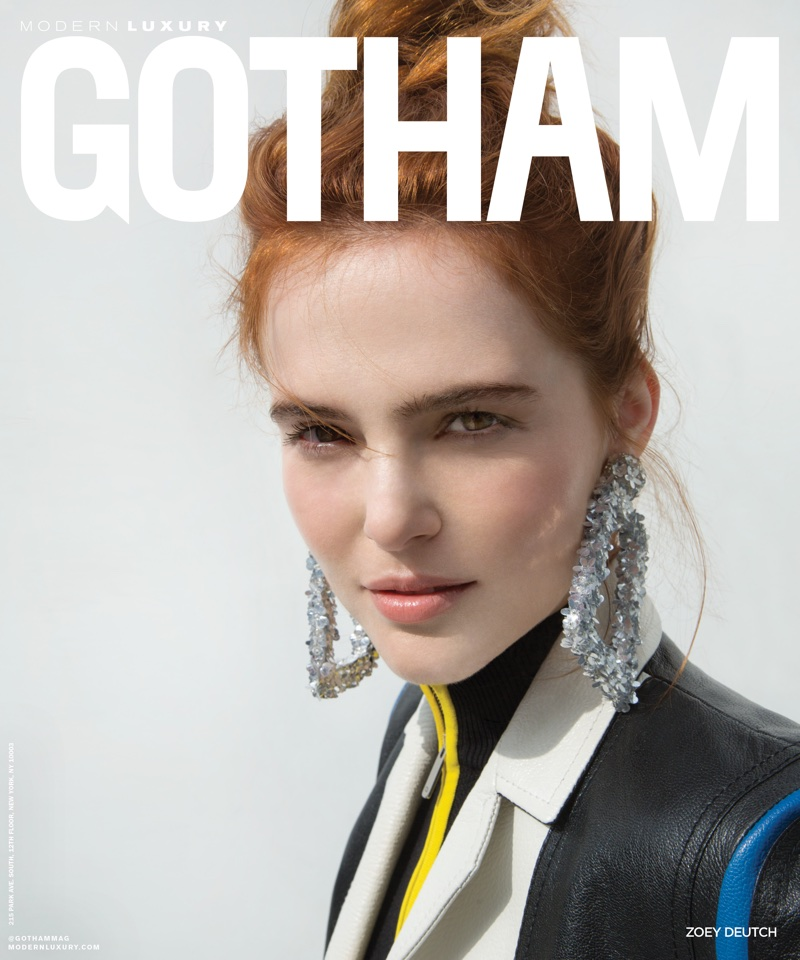 Zoey Deutch wears Dior leather jacket and jumpsuit with Sachin & Babi earrings on Gotham Magazine May 2018 Cover