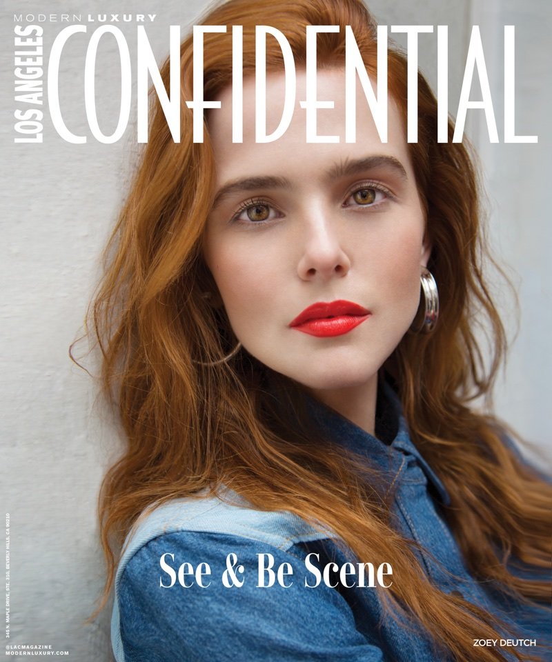 Actress Zoey Deutch wears Calvin Klein Jeans denim shirt and Jennifer Fisher earrings on Los Angeles Confidential May 2018 Cover