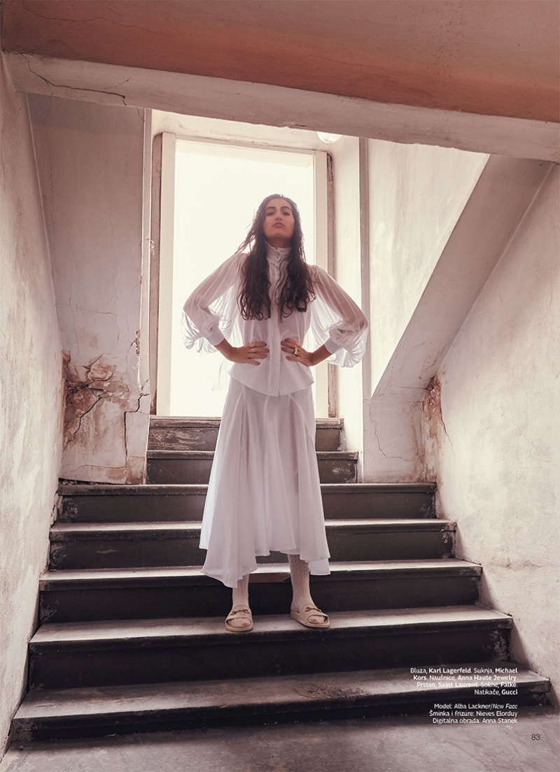 Alba Lackner Poses in All-White Outfits for Grazia Croatia