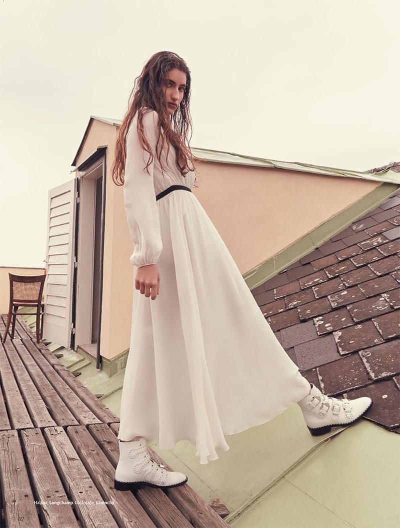 Alba Lackner Poses in All-White Outfits for Grazia Croatia