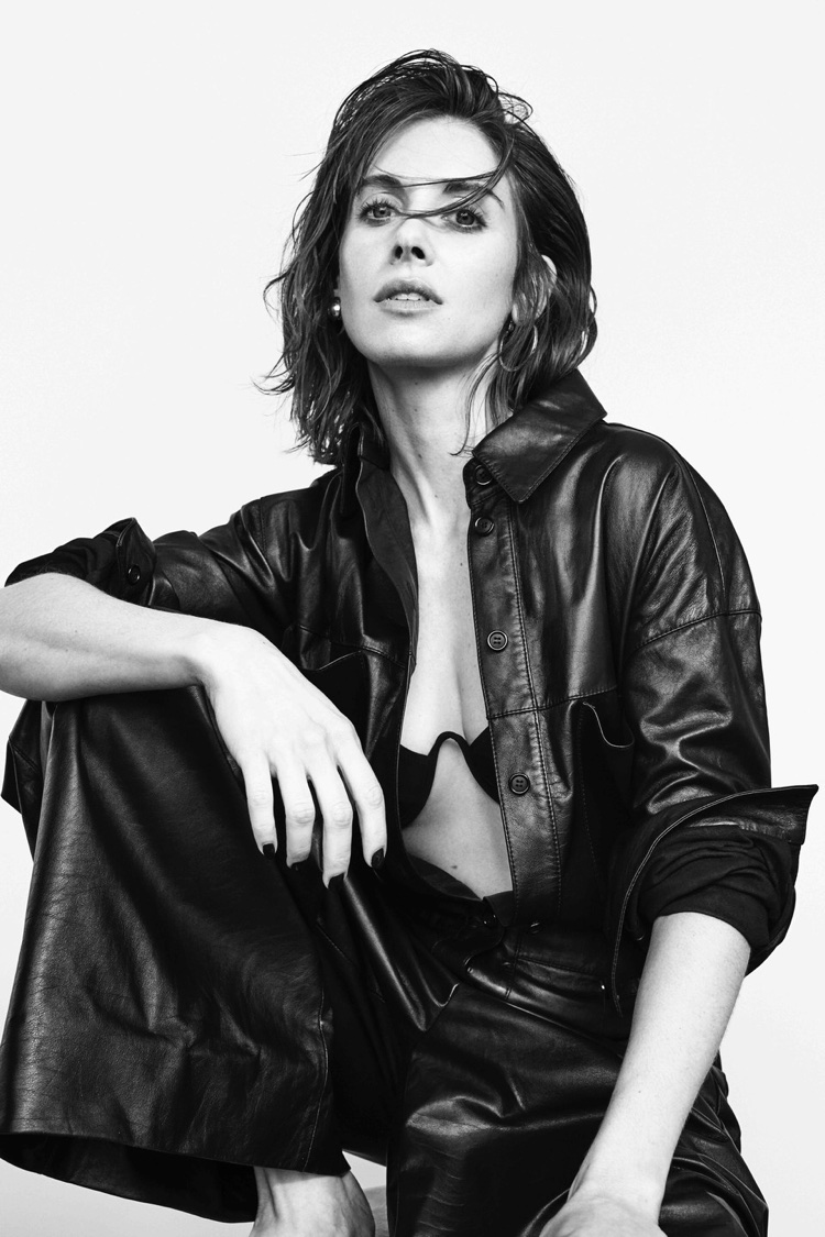 Alison Brie wears Araks bikini top and Celine leather jumpsuit