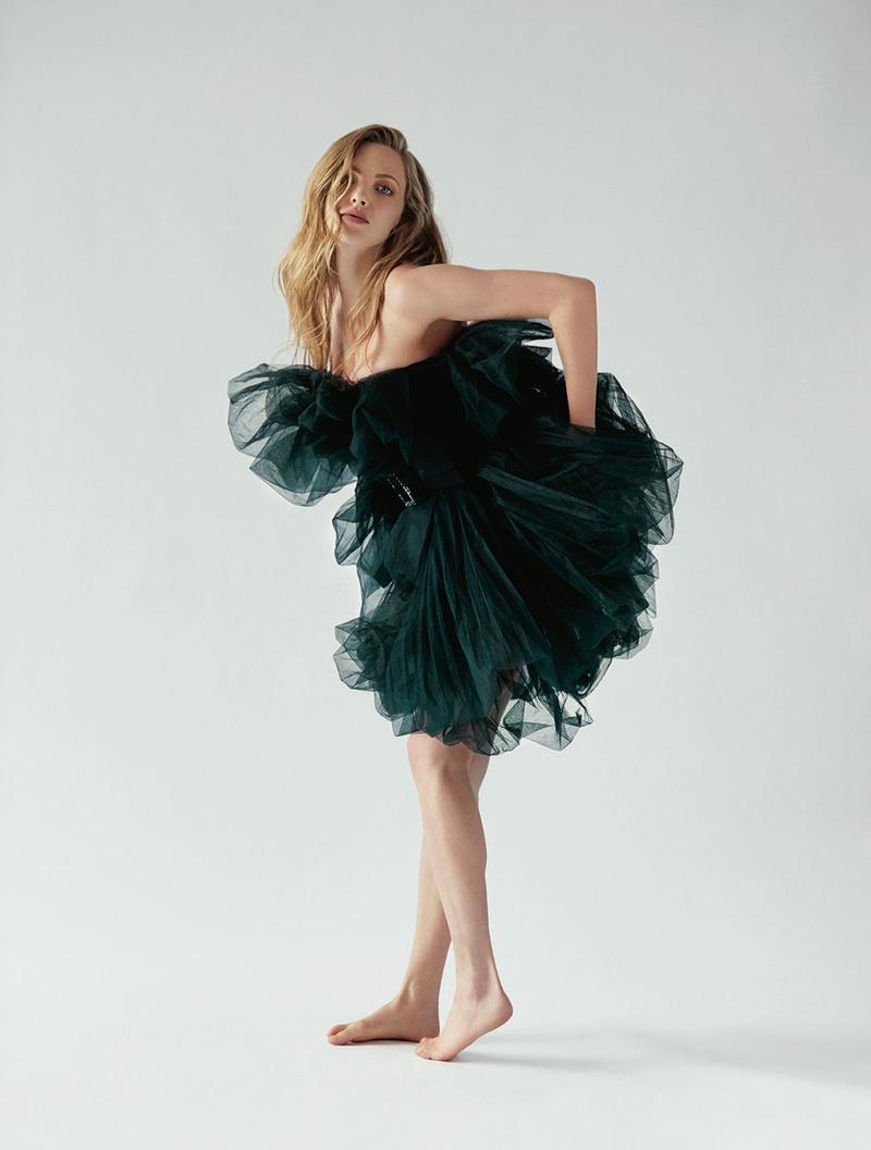 Amanda Seyfried strikes a pose in a mesh Alexandre Vauthier dress