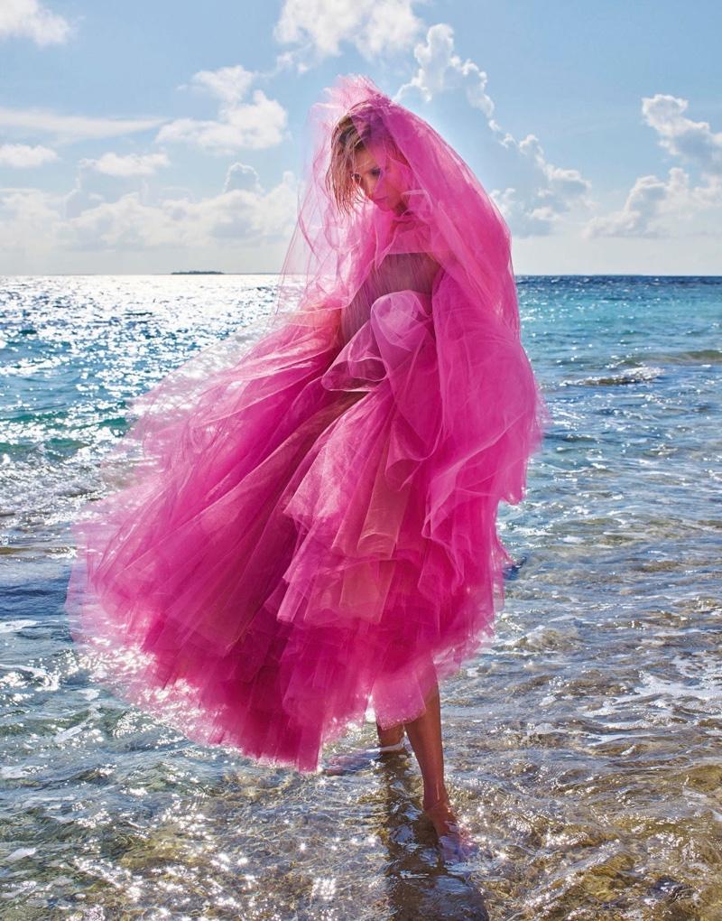 Anja Rubik Poses in Beachy Looks for PORTER Magazine