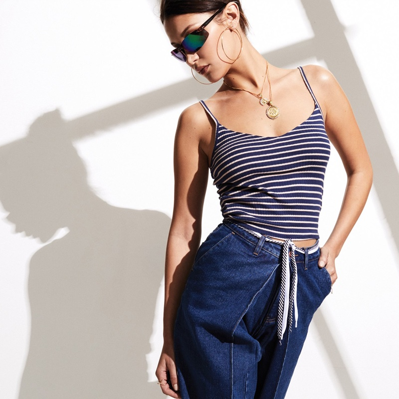 Bella Hadid sports striped top and jeans for Penshoppe DenimLab 2018 campaign