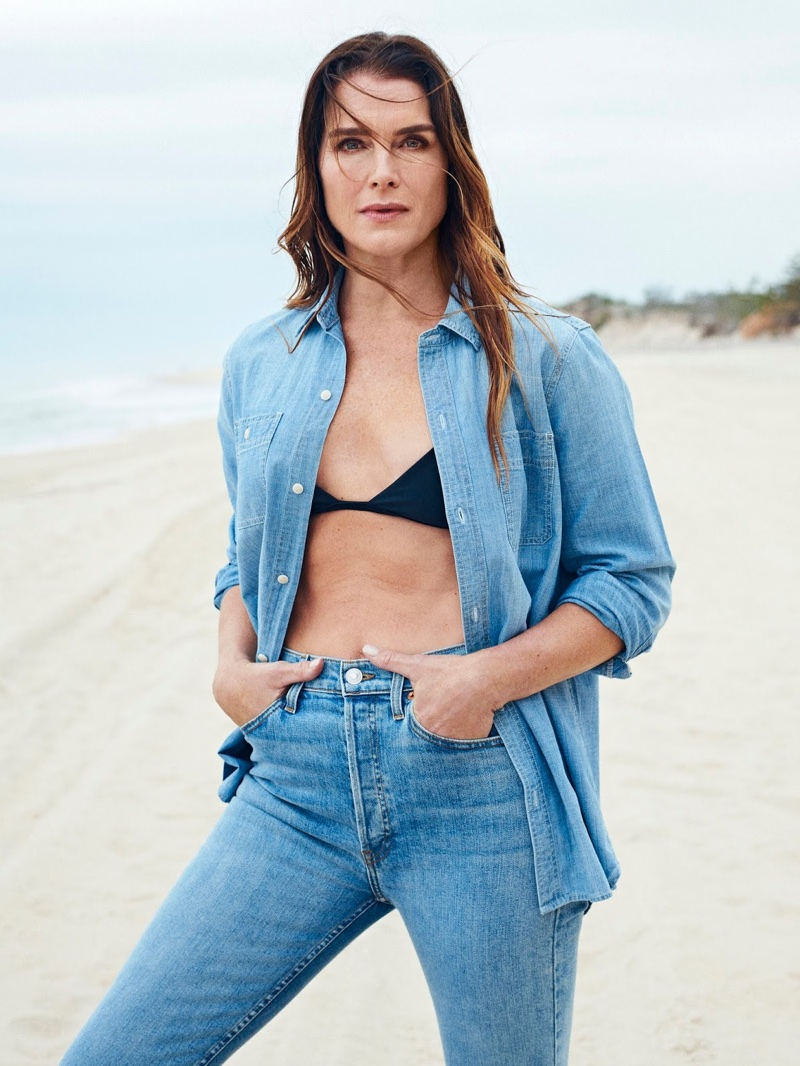 Brooke Shields poses in Madewell shirt, Matteau bikini and RE/DONE jeans