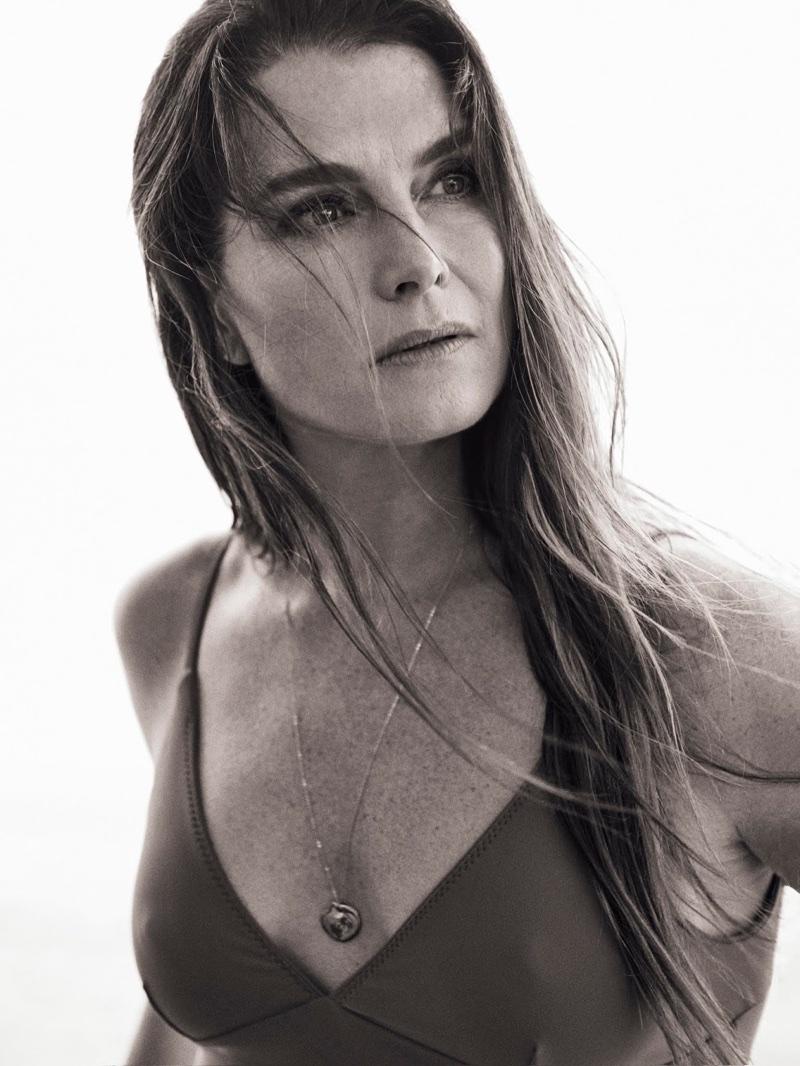 Brooke Shields wears Matteau swimsuit