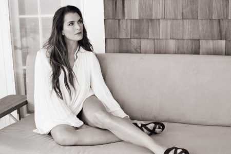 Brooke Shields wears Elizabeth and James blouse with Common Projects sandals