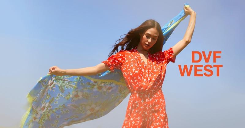 Ziayla Pizarro wears red dress in DVF West's summer 2018 campaign