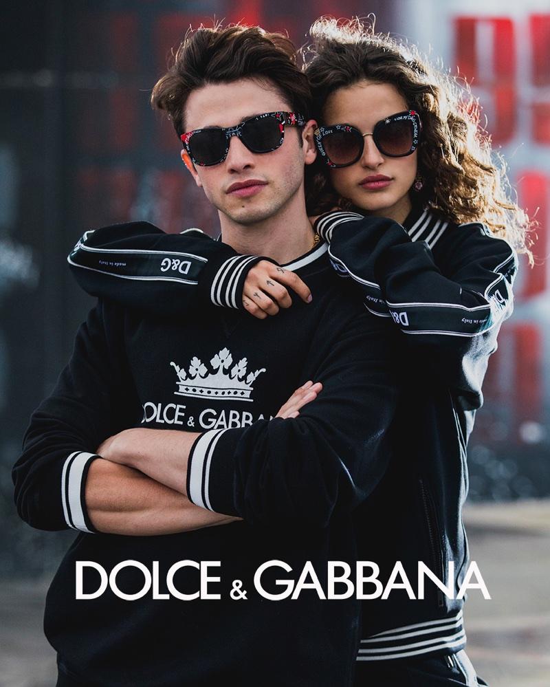 Chiara Scelsi and Riccardo Marcuzzo front Dolce & Gabbana #DGGraffiti sunglasses campaign
