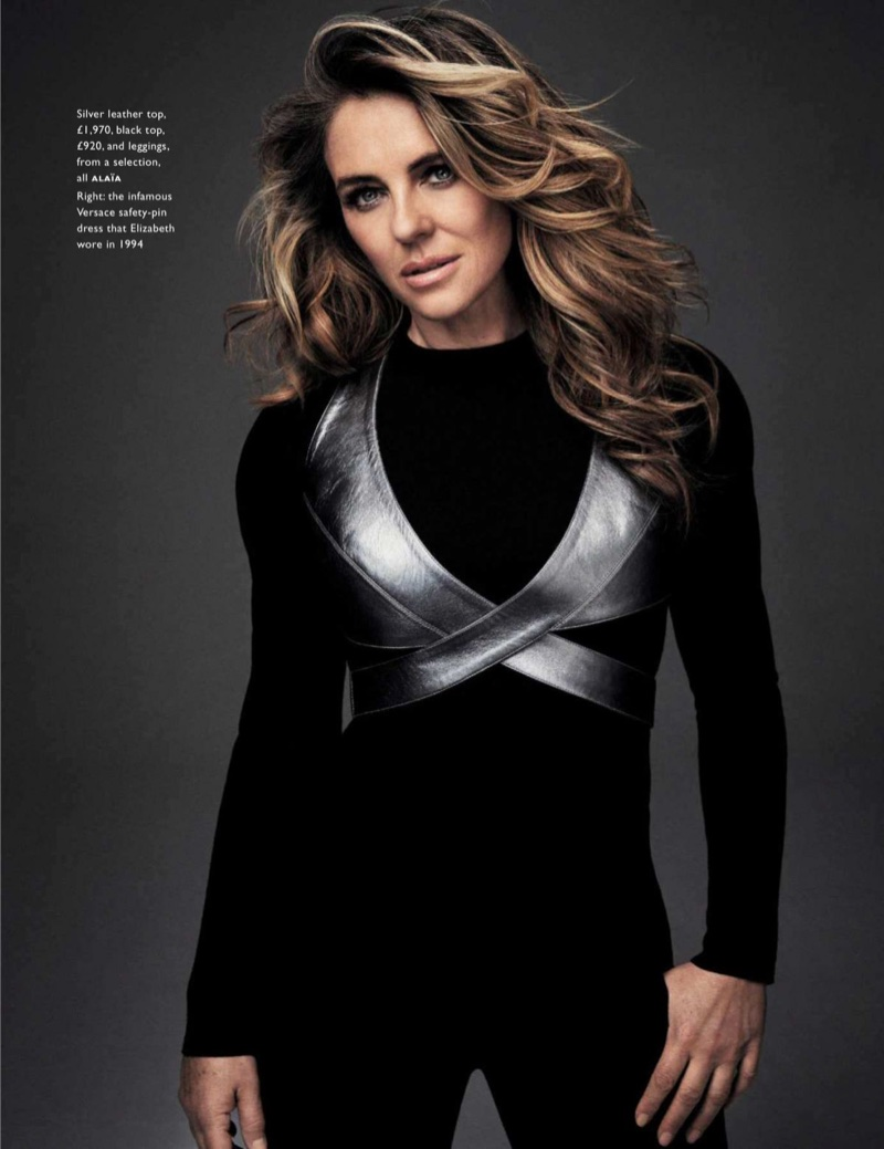 Actress Elizabeth Hurley wears a complete look from Alaia