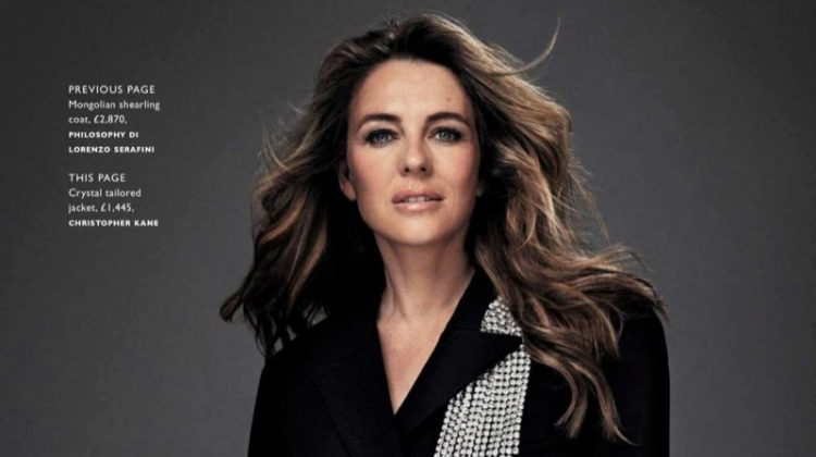 Elizabeth Hurley Poses in Polished Styles for Grazia UK